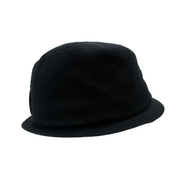 Black Fedora hat with Fleur de Lis side view.