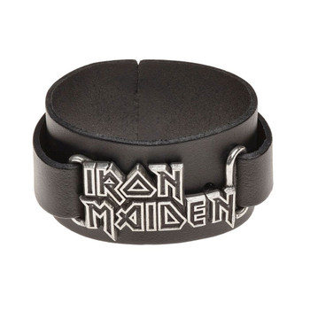 Alchemy Rocks Iron Maiden Logo Leather Cuff Wristband Bracelet HRWL447
