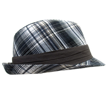 Plaid Fedora cotton hat side view.