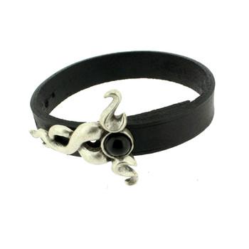 Black leather bracelet silver pewter swirl design.