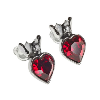 Alchemy Gothic Claddagh Heart Stud Earrings Pewter Jewelry E379