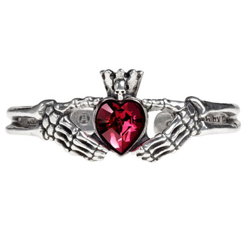 Alchemy Gothic Claddagh By Night Heart Bangle Pewter Bracelet A114