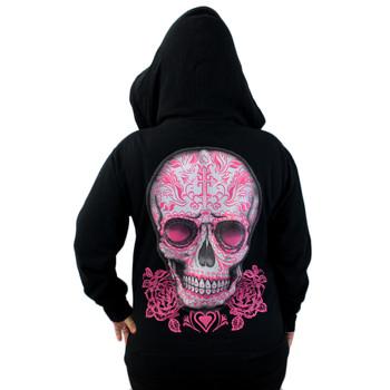 Black Fleece Zipper Hoodie Sweatshirt Day of the Dead Skull and Roses