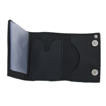 Three of clubs black leather wallet.