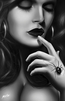 Black Widow Hand by Horbe Canvas Giclee Art Print Sexy Woman and Spider