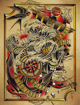 Deep by Tyler Bredeweg Canvas Giclee Nautical Skull