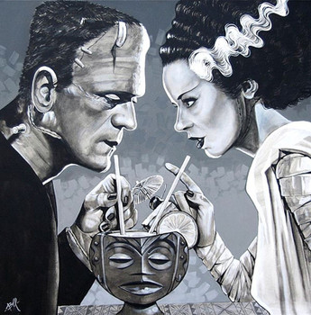 Amorous Libation by Mike Bell Canvas Giclee Art Print Bride of Frankenstein Monster