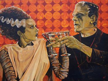 Made For Each Other by Mike Bell Canvas Giclee Art Print Bride of Frankenstein Monster