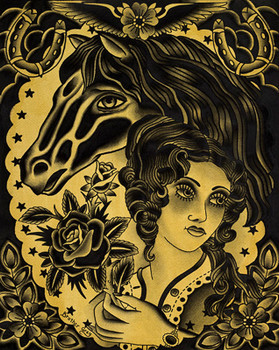 Horse Rider by Brother Greg Canvas Giclee Art Print Beauty Queen and Roses