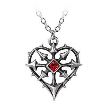 Alchemy Gothic Entropassio Heart Shaped Pendant Necklace Pewter Jewelry P787