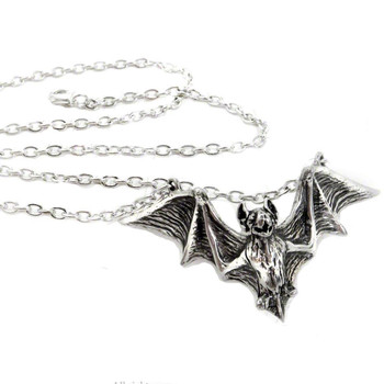 Alchemy Gothic Bat Om Strygia Pendant Necklace Pewter Jewelry P597