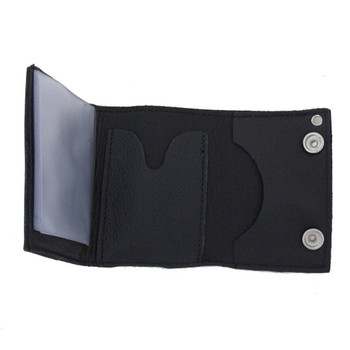 Men's Black Wallet Genuine Leather Trifold Stud Ace of Spades