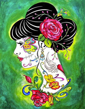 Garden Beauty by Melody Smith Canvas Giclee Art Print Tattooed Woman