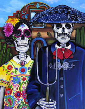 Mex Am Gothic by Melody Smith Canvas Giclee Art Print Day of the Dead Sugar Skull