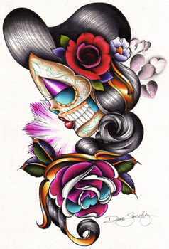 Sad Girl by Dave Sanchez Canvas Giclee Art Print Day of the Dead Sugar Skull