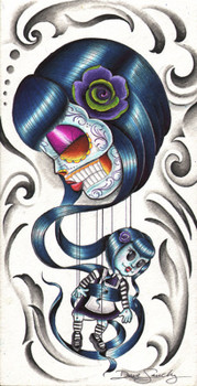 Mary Annette by Dave Sanchez Canvas Giclee Art Print Day of the Dead Sugar Skull