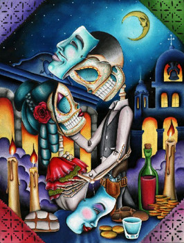 Masquerade by Dave Sanchez Canvas Giclee Art Print Day of the Dead Sugar Skull