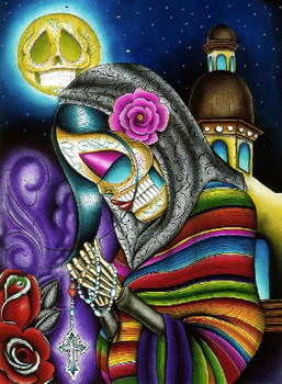 Pray For Us by Dave Sanchez Canvas Giclee Art Print Day of the Dead Sugar Skull