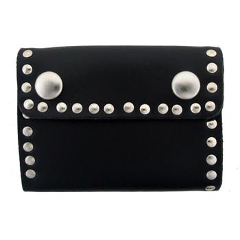 Men's Wallet Black Genuine Leather Biker Chain Trifold with Riveted Studs