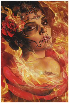 Burning Desire by Daniel Esparza Fine Art Print Day of the Dead Sugar Skull Beauty Fire and Flames