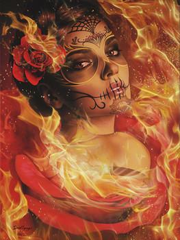Burning Desire by Daniel Esparza Canvas Giclee Art Print Day of the Dead Beautiful Sugar Skull Mask