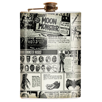 Monster Magazine Ads Novelty Retro Stainless Steel Flask