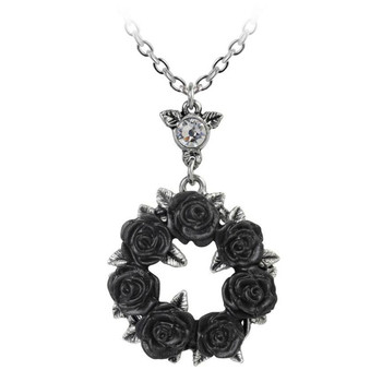 Alchemy Gothic Ring 'O Roses Wreath Pendant Necklace Pewter Jewelry P791