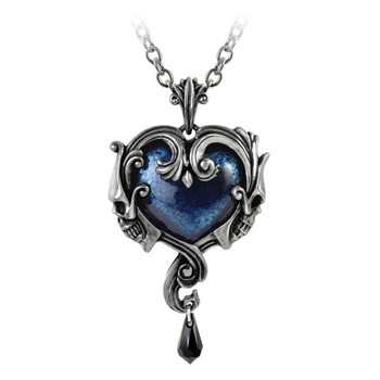 Alchemy Gothic Affaire du Coeur Heart Skull Pendant Necklace Pewter Jewelry P792