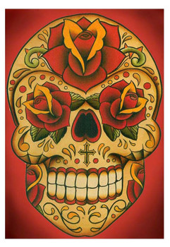 Inphamus Dia by Lil Chris Tattoo Art Print Day of the Dead Sugar Skull