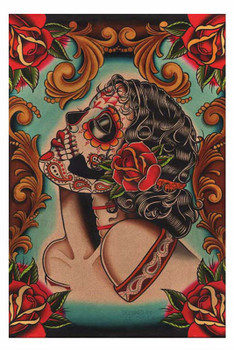 Muerta by Lil Chris Fine Art Print Day of the Dead Sugar Skull and Roses