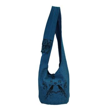 Blue Cotton Sling Bag Purse with Birds Design