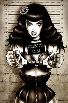 Locked Up Bettie Page Mugshot by Marcus Jones Screaming Demons Canvas Giclee Art Print