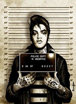 Mr. Las Vegas Elvis Presley Mugshot by Marcus Jones Screaming Demons Canvas Giclee Art Print
