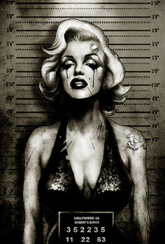 Marilyn Monroe Mugshot by Marcus Jones Screaming Demons Canvas Giclee Art Print
