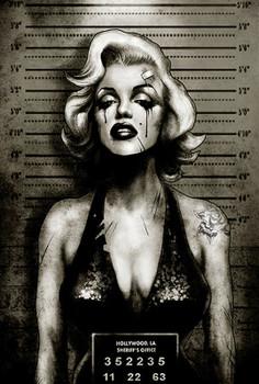 Marilyn Monroe Mugshot by Marcus Jones Screaming Demons Canvas Giclee Art Print