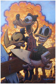 3 Amigos by Damian Fulton Surf Donald Duck Goofy Fine Tattoo Art Print