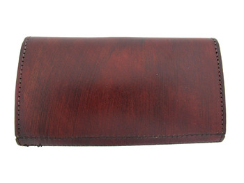 Brown genuine leather wallet with embossed floral trim.