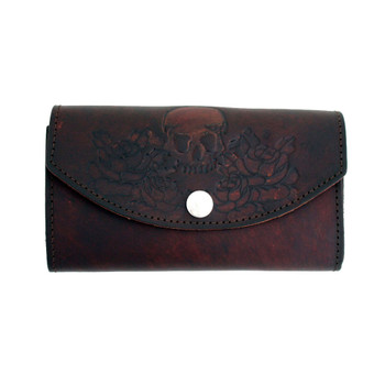 Women's dark brown skull and roses leather wallet.