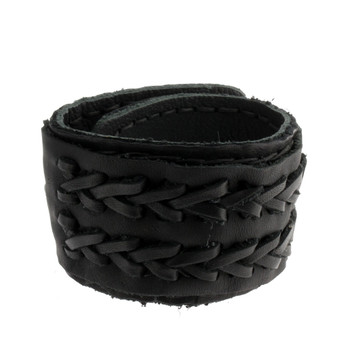 Black Cuff Leather Bracelet with Woven Braid Detail