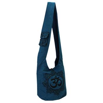 Blue Cotton Sling Bag Purse with OM Design