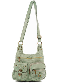 The Aria Crossbody Purse Faux Leather Shoulder Bag Seafoam Green