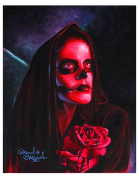 Red Mary Sugar Skull by Manuel Valenzuela Tattoo Fine Art Print