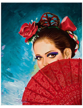 Senorita Spanish Dancer by Manuel Valenzuela Tattoo Fine Art Print