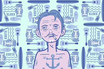 Sailor Rockabilly Surfer by Tom Vadakan Tattoo Fine Art Print