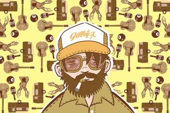 Truckin' Man Retro Hunter by Tom Vadakan Tattoo Fine Art Print