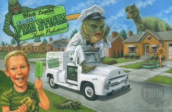 Creaturbia by P'gosh Creature from the Black Lagoon Monsters Tattoo Art Print