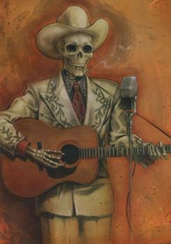 Friends We've Lost Along The Way Rockabilly Skeleton by P'gosh Tattoo Art Print