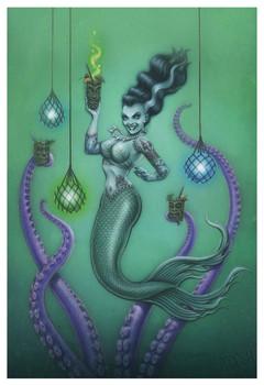Franken Mermaid by P'gosh Frankenstein Monster Tattoo Art Print