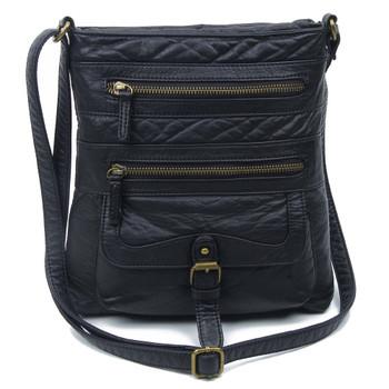 The Danni Crossbody Purse Black Vegan Leather Shoulder Bag
