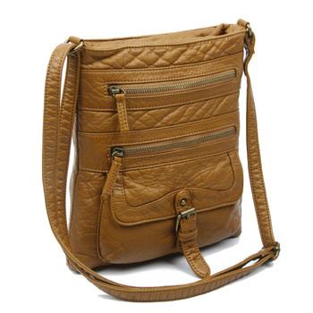 The Danni Crossbody Purse Light Brown Vegan Leather Shoulder Bag